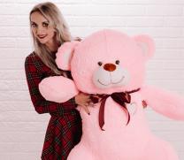 Розовый плюшевый мишка рост 150 сантиметров
